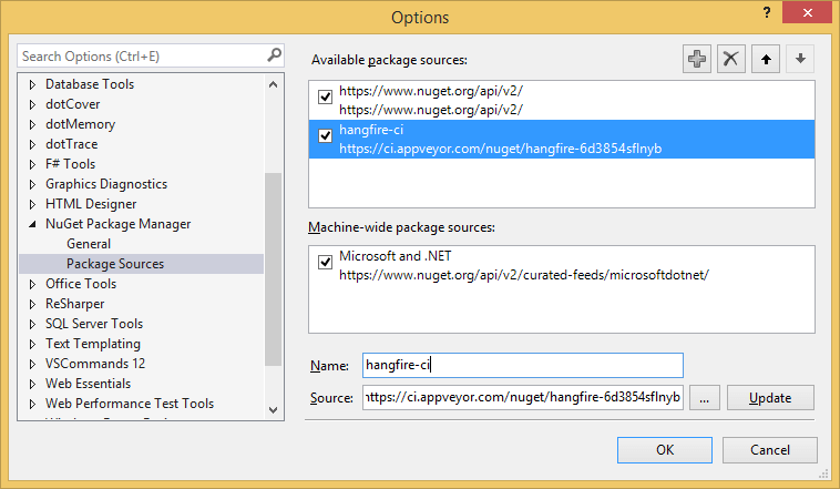 Package Sources Window