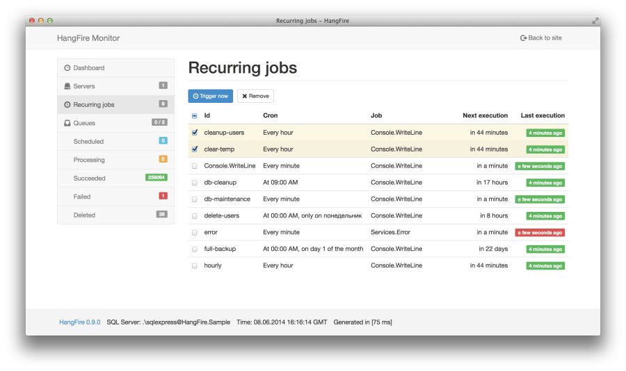 Hangfire Recurring Jobs