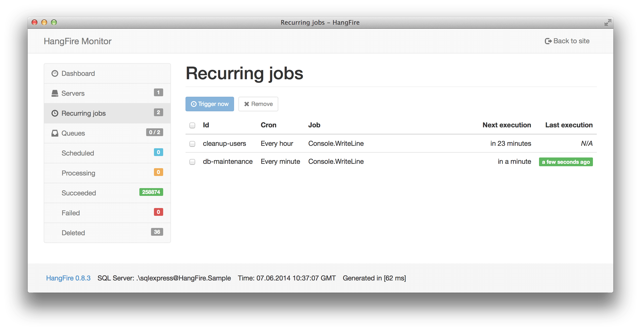 Recurring jobs
