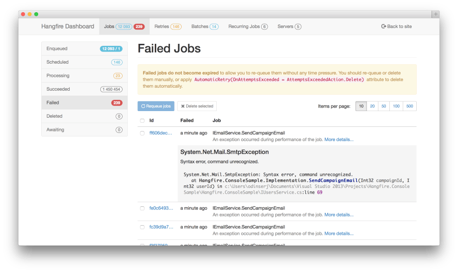 Failed Job List